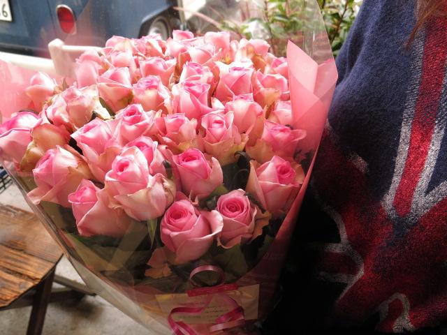 ピンクバラ 花束